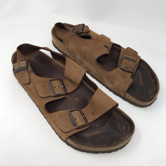 Buy Beige Birkenstock Milano Sandals Clearance Mens Brown